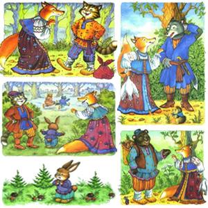 картинки из сказки лиса и кот
